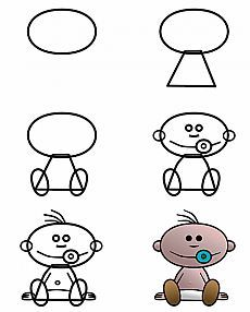 Easy Drawings Image Search Results for cartoon drawings - Learn how to draw cute cartoon babies that don't cry and that will make your life much happier! just easier to draw! Drawing Cartoon Characters, Character Drawing, Cartoon Drawings, Animal Drawings, Baby Cartoon Drawing, Doodle Drawings, Cute Drawings, Doodle Art, Drawing Sketches