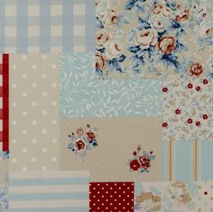 Vintage Patchwork - Blue - Curtain Fabric