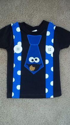 Blue Monster that Loves Cookies in Black Tie and Suspenders .- Blue Monster that Loves Cookies in Black Tie and Suspenders Shirt - Elmo Birthday, Baby Boy Birthday, 2nd Birthday Parties, Birthday Ideas, Cookie Monster Shirt, Cookie Monster Party, Monster Baby Showers, Monster 1st Birthdays, Baby Kostüm