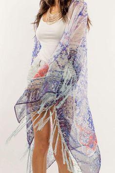 4b35e5e4c1394e Elizabeth Gillett Karlen Antique Textile Print Sheer Kimono - blue Vacation  Style
