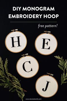 FREE PATTERN PDF | Easy embroidery pattern for beginners, this monogram hoop only requires two stitch types, split stitch and satin stitch. Patterns for the whole alphabet from A-Z available for instant download on the Stevie Storck Design Co. blog!