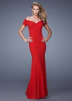 La Femme 21085 Red Prom Dress Fabric: Jersey. Colors: Black, Red. Allow your natural beauty to radiate through the understated elegance of this fit and flare prom dress. Sophisticated off the shoulder jersey dress with a sweetheart neckline and flared skirt. Back zipper closure. Ideal for prom, winter formal, or black tie event. You will look and feel absolutely stunning in this classis ensemble. Pair with chandelier earrings, rhinestone bracelets, and a small clutch for a finished look.