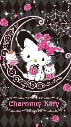 Charmmy Kitty is Halloween ready. Kawaii cute, too! Hallo Kitty, Hello Kitty Art, Hello Kitty Themes, Sanrio Wallpaper, Kawaii Wallpaper, Cartoon Wallpaper, Wallpaper Stickers, Hello Kitty Backgrounds, Hello Kitty Wallpaper