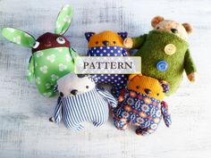 PATTERN for various Fatsy Petsy soft stuffed animals stuffed toys kitten puppy bunny rabbit bear, 6-7 inches by HandyHappyTeddy on Etsy https://www.etsy.com/listing/156422948/pattern-for-various-fatsy-petsy-soft