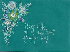 white gel pen and colored pencils on this teal envelope.  Mail Art  #mailart #snailmail #happymail