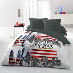 Blue Comforter, Comforters, New York, Microfibre, Blanket, Bed, Polyester, Home, Products