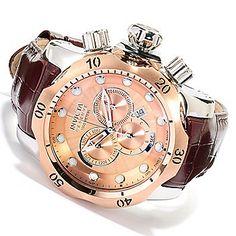 Invicta Reserve 52mm Venom Elegant Edition Swiss Quartz Chronograph Leather Strap Watch