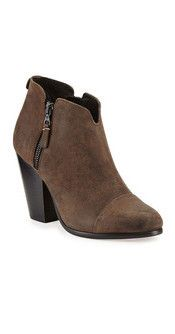 Margot Leather Zip Ankle Bootie in Stone
