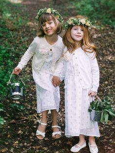 flower girls with flower crowns - photo by Braedon Photography http://ruffledblog.com/camping-wedding-at-half-moon-bay