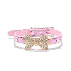 New Designer Colorful Full Inlaid Bow Crystal Small Dog Collars, Fashion Small Dog Charm Collars, Cat Leather Collar >>> New and awesome cat product awaits you, Read it now  : Cat Collar, Harness and Leash