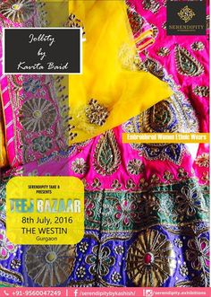 Incredible embroidered Women Ethnic Wears, Tunics, Kurtis, Sarees & Saree Blouses from Jollity By Kavita Baid at ‪#‎Serendipity_take_8‬ ‪#‎Teej_Bazaar‬ at The Westin Gurgaon on 8th July..