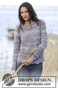 """New pattern by #DROPSDesign jumper in garter st with wave pattern and raglan in """"Fabel"""". #knitting"""
