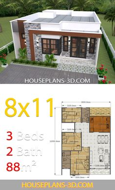 House Design 8x11 with 3 Bedrooms Full Plans House Plans 3D House construction plan Affordable house plans My house plans