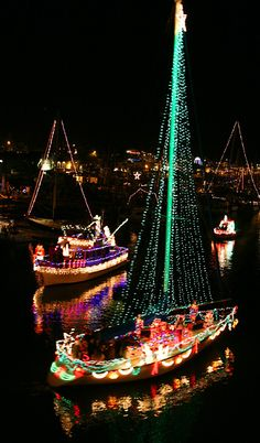 Lighted Boat Christmas Parade, Santa Cruz Harbor, California.  always wanted to do this! Has anyone tried??