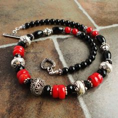 Gemstone Black Onyx and Red Coral Necklace