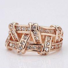 18K Platinum Plated Ring Rose Gold