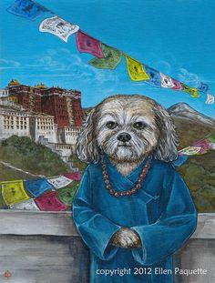 Tibetan Princess Lhasa Apso Dog Portrait fine by EllenPaquetteArt Lhasa Apso, Chinese Dog, Tibetan Terrier, Dog Portraits, Beautiful Dogs, Shih Tzu, Animal Pictures, Cute Dogs, Fine Art Prints