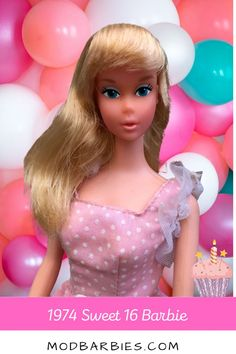 Sweet 16 Barbie celebrated her 16th birthday on March 9, 1975. She wore a long pink polka-dotted dress and came with long denim shorts and a yellow tank with the #16 on it. Her accessories included a pink cosmetics compact case, a brush and comb, 2 applicators & sponges, and 4 barrettes. By pressing a label onto a barrette, comb, or hairbrush, you could smell a strawberry fragrance. Using the blush applicator, you could color her cheeks too! #sweet16barbie #70sbarbie 16th Birthday, Hair Brush, Vintage Barbie, Pretty Hairstyles, Sweet 16, Fun Facts, Fragrance, Barrette, Disney Princess