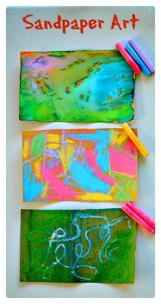 3 simple and engaging ways to create beautiful art with sandpaper.. Easy kids…