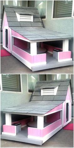 A recycled wooden pallet is the only wooden material that allows you to craft unlimited creation with its artistic reshaping and retransforming. Pallet Dog House, Pallet Dog Beds, Dog House Bed, Recycled Pallets, Wooden Pallets, Wooden Diy, Diy Pallet Projects, Pallet Ideas, Dog Spaces