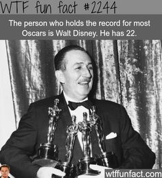 The person with the most oscars - WTF fun facts-------------------Walt Disney Walt Disney, Disney Pixar, Disney Facts, Disney And Dreamworks, Disney Love, Disney Magic, Disney Stuff, Disney Family, Disney Songs