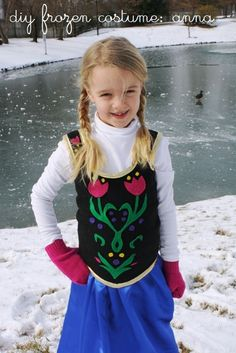 "Create this simple and inexpensive costume for your daughter to play ""Anna"" from the Disney film, Frozen."