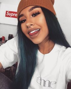 Follow: Slimolix ❤ Face Piercings, Septum Piercing Jewelry, Photo Makeup, Tan Skin, Girls Makeup, Poses, Ombre Hair, Hair Inspo, Tatoo