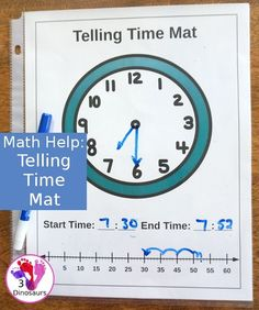 Free Easy To Use Math Help: Telling Time Mats - 2 mats to help with clocks and time number lines for helping with math questions about amount of time - 3Dinosaurs.com #freeprintable #mathhelp #tellingtime