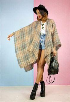 Amazing Vintage Tartan Mohair Fluffy Throw/ Cape Mohair Throw, Cardigans For Women, Tartan, Cape, Bohemian, Amazing, Summer, Outfits, Vintage