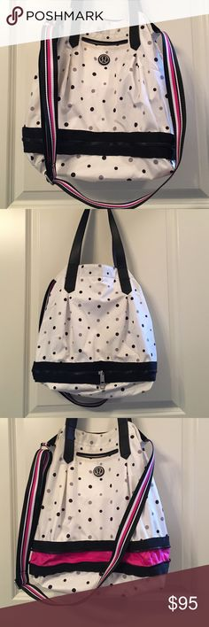 """Lululemon polka dot bag White bag with black and grey polka dots. Pink accents. Can be worn over the shoulder or cross body. Bottom part zips around to expand bag about two more inches. One pocket on the outside and one pocket on the inside. Please note there is some discoloration on the front as you can see in the picture, and a small bit on the back and bottom. Measures approx 15"""" long (without zipped expansion), and opening is 14.5"""" wide lululemon athletica Bags"""
