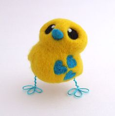 Needle Felted Bright Yellow and Turquoise Bird by feltmeupdesigns on Etsy