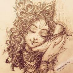Art Work by Madhavi Tuli 🌸🌌❤️ Art Work Credi Radha Krishna Images, Lord Krishna Images, Krishna Pictures, Krishna Art, Radhe Krishna, Krishna Tattoo, Krishna Drawing, Krishna Painting, Lord Ganesha Paintings