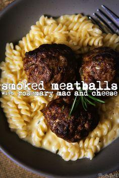 Rosemary-Smoked Meatballs with Rosemary Mac and Cheese | GirlCarnivore.com