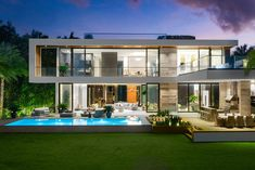 A 2019 Modern Mansion on Palm Island with a sophisticated tropical vibe featuring an open-air atrium, reflection ponds & rooftop lounge Best Modern House Design, Modern Exterior House Designs, Dream House Exterior, Dream Home Design, Dream House Plans, Home Design Plans, Modern Villa Design, Exterior Design, Modern House Facades