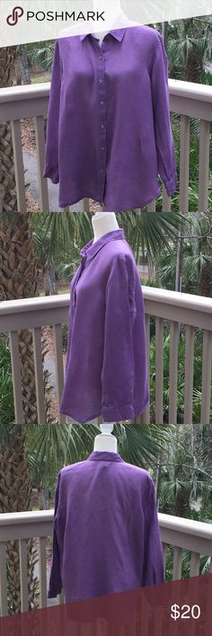 """J. Jill 100% Linen Purple Long Button Blouse SZ M J. Jill 100% Linen Button Down Long Top Button Down, Purple, Size Large  Arm Pit to Arm and 24"""" laying flat  Total Length 28"""" Gently used  Nice Feel of Linen  Clean and Smoke Free Home J. Jill Tops Button Down Shirts"""