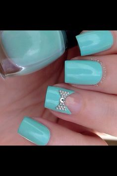 Tiffany blue nails bachelorette party nails see more at http blue bow prinsesfo Gallery