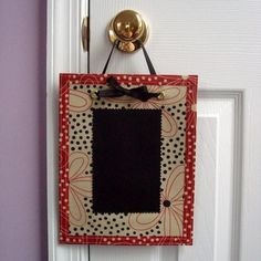 Knob Notes - reusable, reversible chalkcloth door hanger  LilBDesigns @ Etsy