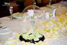 Enchanted pink rose wedding reception centerpiece