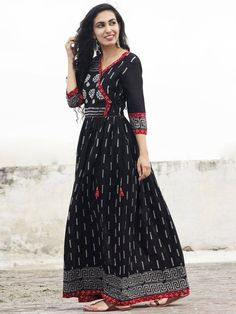 Naaz Afna - Black Ivory Grey Maroon Hand Block Printed Angrakha Dress With Gathers - Cotton Long Dress, Cotton Dresses, Kurta Designs Women, Blouse Designs, Indian Gowns, Indian Outfits, Angrakha Style, Ikkat Dresses, Kurti Designs Party Wear