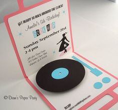 Sock Hop Birthday Invitation, Diner Birthday Invitation, Pop Up Record Player in pink and black, set of 8 50s Theme Parties, Vintage Birthday Parties, Adult Party Themes, 50th Birthday Party, Birthday Party Invitations, Diner Party, Retro Party, Party Party, 1950s Party
