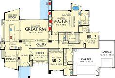 Single Story Contemporary House Plan - 69402AM floor plan - Main Level