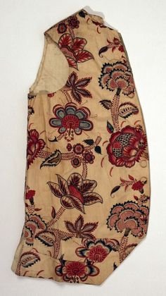 """""""This 1770-1790 waistcoat fragment could have been produced with 2 printings, an initial one to achieve the red and black, and a second one to apply the blue, making a relatively cheap and easy fabric to produce. Collection of the Met"""""""