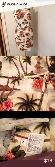 """Young Hawaii Sundress Faux warp skirt, with tie. Zipper in back 17 1/2"""". Bustline 38"""". Waistline up to 32"""". Length from shoulder to hem 36"""" Young Hawaii Dresses"""