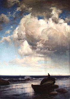"fleurdulys: ""Storm Clouds - Volodymyr Orlovsky "" To break the routine Renaissance Kunst, Renaissance Paintings, Storm Clouds, Sky And Clouds, Academic Art, Biblical Art, Water Art, Russian Art, Art Plastique"