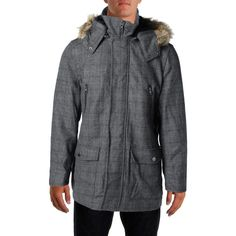 INC 1143 Mens Gray Wool Faux Fur Removable Hood Coat M Retail Price $250.00