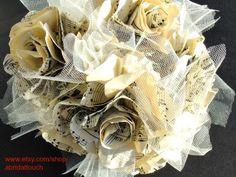 Vintage Music Paper Rose Bridal Bouquet, Ready to Ship Prom Bouquet, Rose Bridal Bouquet, Bouquet Toss, Bridal Bouquets, Vintage Music, Vintage Love, Wedding Stuff, Wedding Flowers, Wedding Ideas