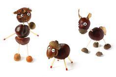 Kastanien-Figuren Crafts For Kids, Arts And Crafts, Glands, Pine Cone Crafts, Nature Crafts, Diy Toys, Pine Cones, Caramel Apples, Acorn