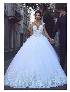 f1b7fab935e XingMeng Beautiful V Neck Lace Tulle Ball Gown Wedding Dress Lace Up Back Bridal  Gown White
