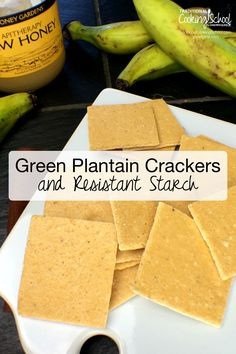 Green Plantain Crackers and Resistant Starch | Green plantains contain resistant starch, a healthy prebiotic that sets the stage for a healthy colon. However, they're usually not palatable. Undeterred, I wanted to create a green plantain treat, something really good as well as being really healthy. And here it is... green plantain crackers that my family loves! | TraditionalCookingSchool.com