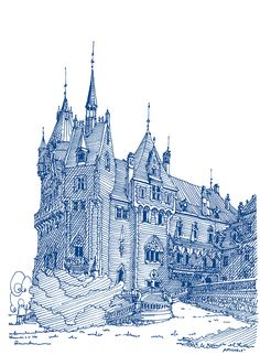 Amazing Pen and Ink Cross Hatching Masters Edition Ideas. Incredible Pen and Ink Cross Hatching Masters Edition Ideas. Cityscape Drawing, Painting & Drawing, Ink Pen Drawings, Cool Drawings, Medieval, Ink Illustrations, Illustration Art, China Architecture, Ligne Claire